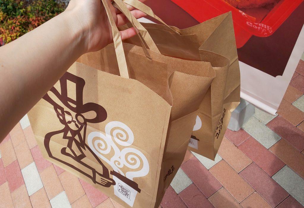 コメダ珈琲テイクアウト袋いっぱい